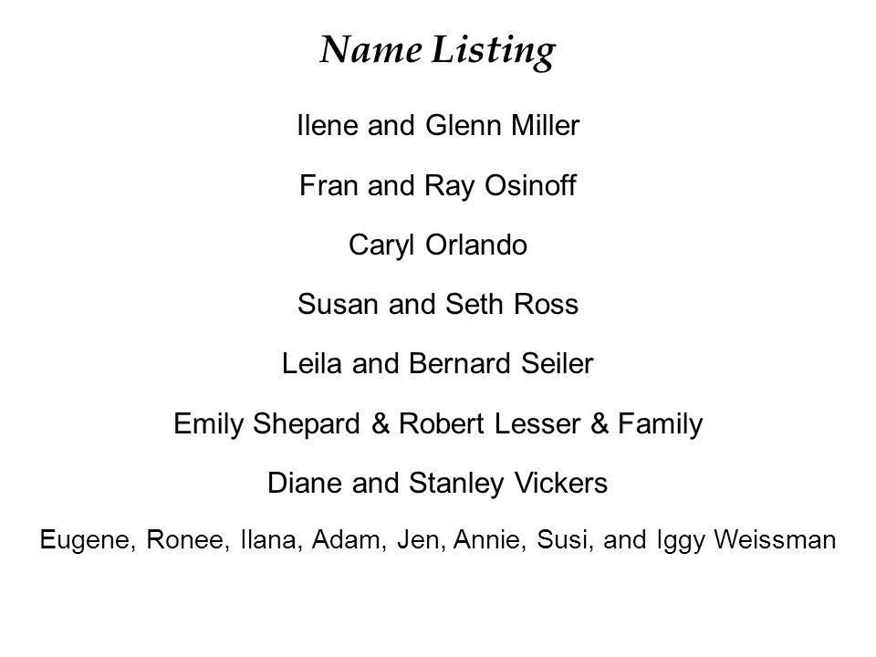 Name Listing Ilene and Glenn Miller Fran and Ray Osinoff Caryl Orlando Susan and Seth Ross Leila and Bernard Seiler Emily Shepard & Robert Lesser & Fa