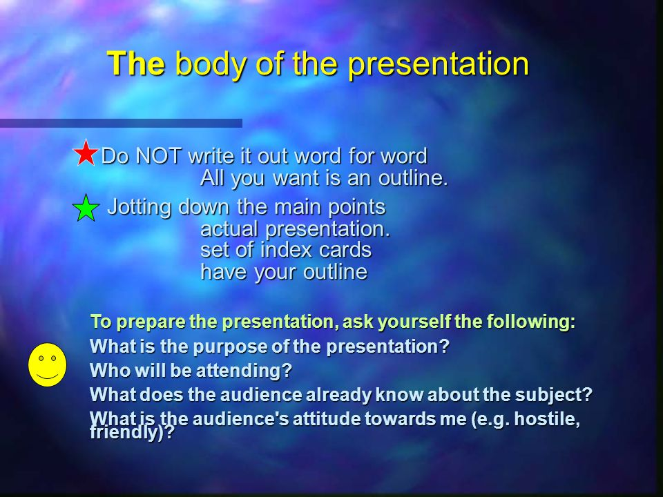 Great presentations require some preplanning First, read Meetings for an outline of preparing and conducting a meeting, such as acquiring a room, informing participants, etc.