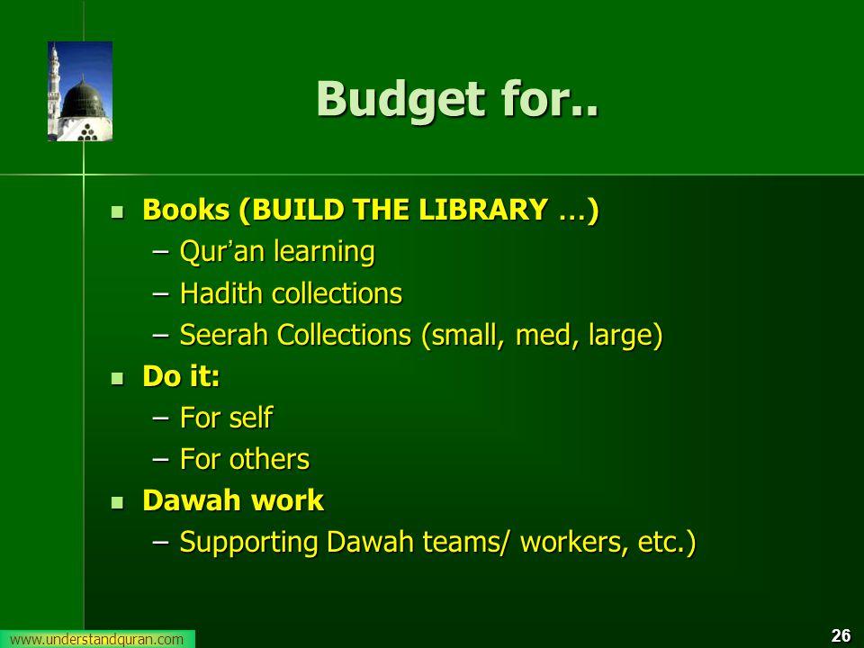 www.understandquran.com 26 Budget for..