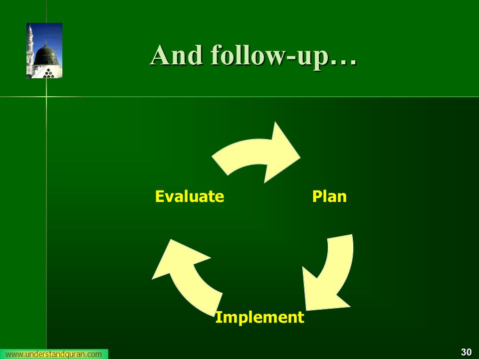 30 And follow-up … Plan Implement Evaluate