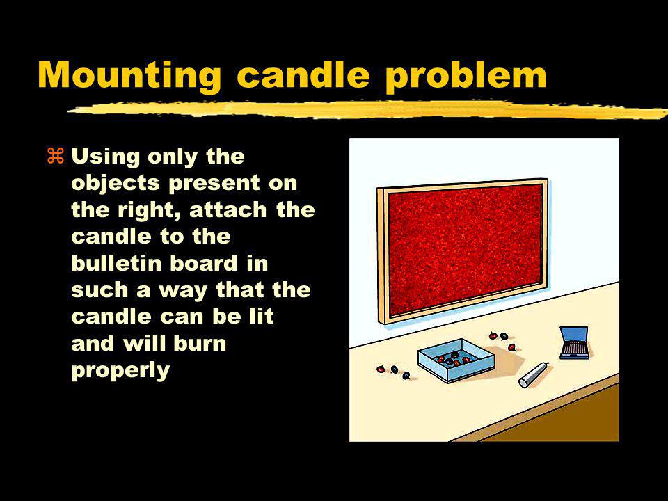 Mounting candle problem zUsing only the objects present on the right, attach the candle to the bulletin board in such a way that the candle can be lit