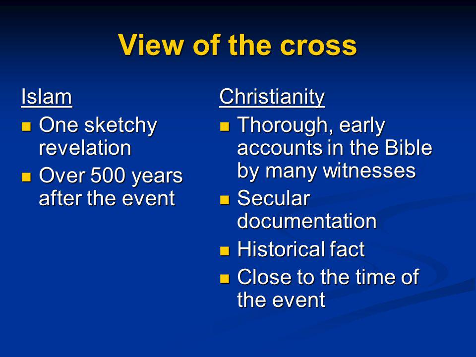 View of the cross Christianity Thorough, early accounts in the Bible by many witnesses Thorough, early accounts in the Bible by many witnesses Secular