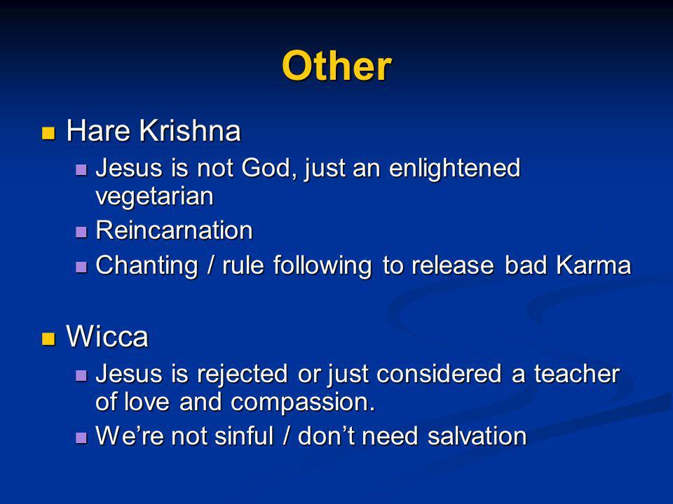 Other Hare Krishna Hare Krishna Jesus is not God, just an enlightened vegetarian Jesus is not God, just an enlightened vegetarian Reincarnation Reinca