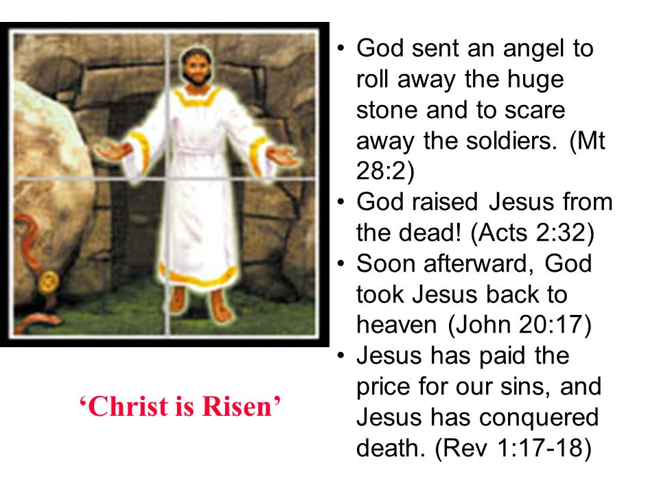 Christ is Risen God sent an angel to roll away the huge stone and to scare away the soldiers. (Mt 28:2) God raised Jesus from the dead! (Acts 2:32) So