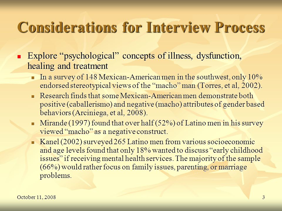 October 11, 20083 Considerations for Interview Process Explore psychological concepts of illness, dysfunction, healing and treatment Explore psycholog