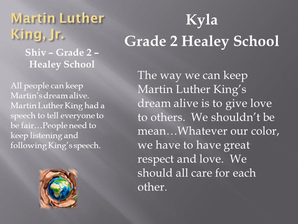 Martin Luther King, Jr. Shiv – Grade 2 – Healey School All people can keep Martins dream alive.