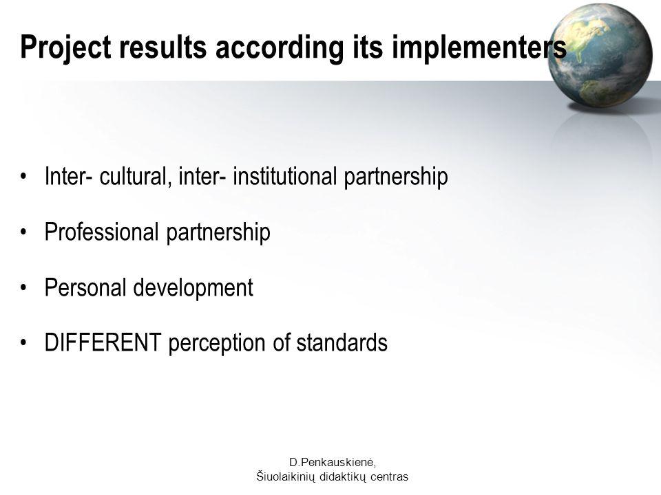 D.Penkauskienė, Šiuolaikinių didaktikų centras Project results according its implementers Inter- cultural, inter- institutional partnership Professional partnership Personal development DIFFERENT perception of standards