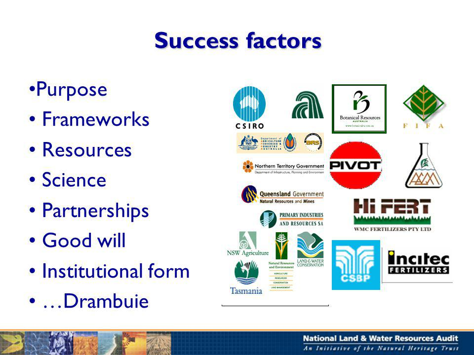 Success factors Purpose Frameworks Resources Science Partnerships Good will Institutional form …Drambuie