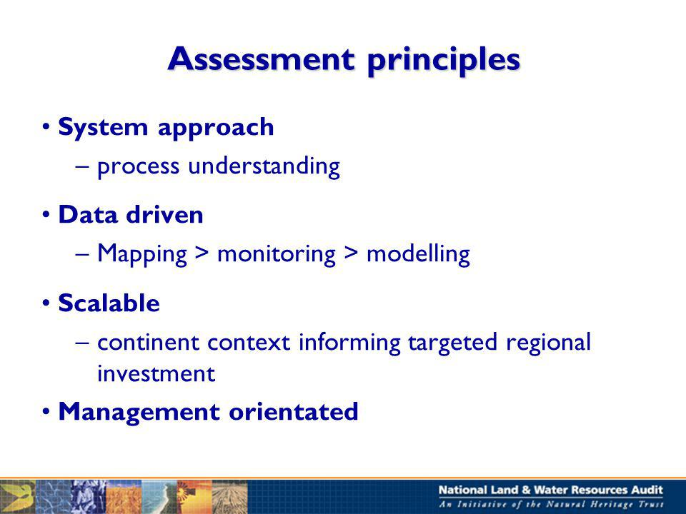 Assessment principles System approach –process understanding Data driven –Mapping > monitoring > modelling Scalable –continent context informing targeted regional investment Management orientated
