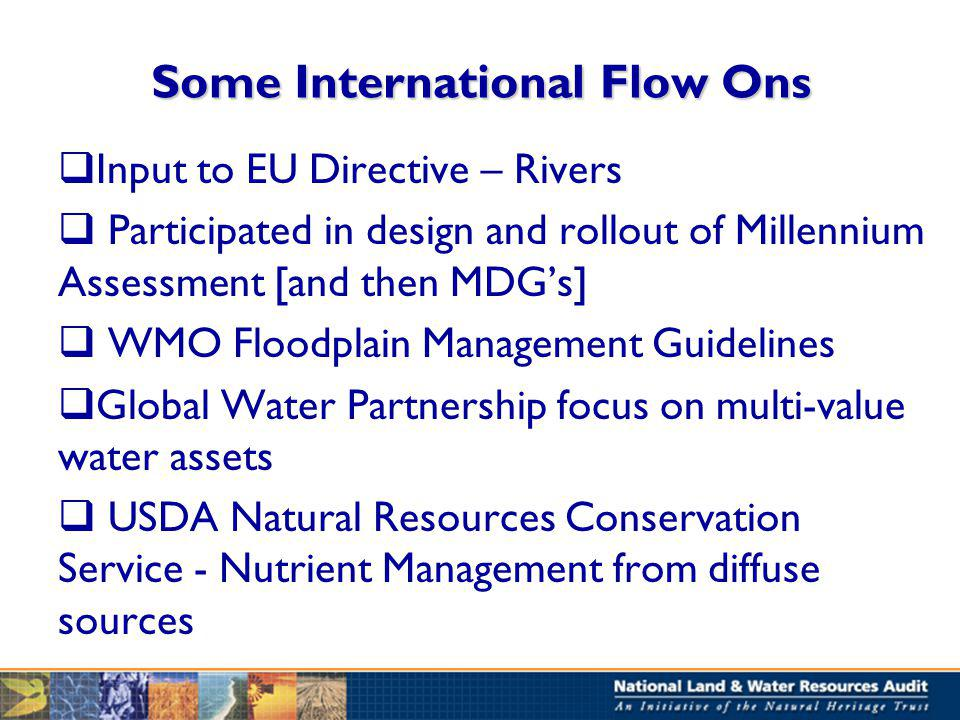 Some International Flow Ons Input to EU Directive – Rivers Participated in design and rollout of Millennium Assessment [and then MDGs] WMO Floodplain Management Guidelines Global Water Partnership focus on multi-value water assets USDA Natural Resources Conservation Service - Nutrient Management from diffuse sources