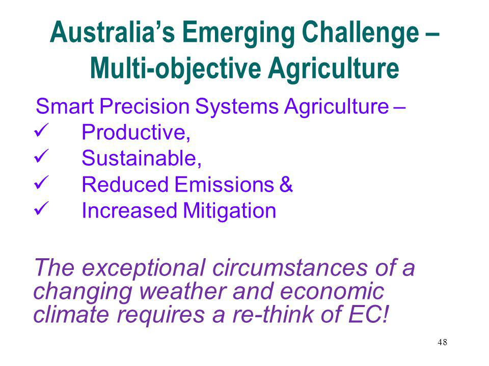 48 Australias Emerging Challenge – Multi-objective Agriculture Smart Precision Systems Agriculture – Productive, Sustainable, Reduced Emissions & Increased Mitigation The exceptional circumstances of a changing weather and economic climate requires a re-think of EC!