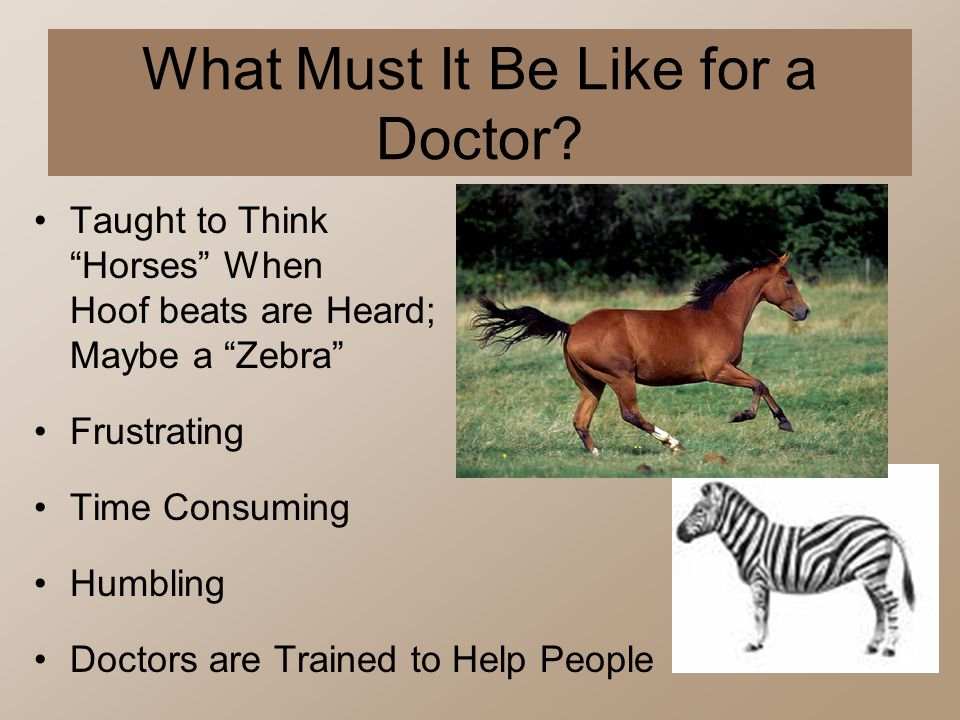 What Must It Be Like for a Doctor? Taught to Think Horses When Hoof beats are Heard; Maybe a Zebra Frustrating Time Consuming Humbling Doctors are Tra