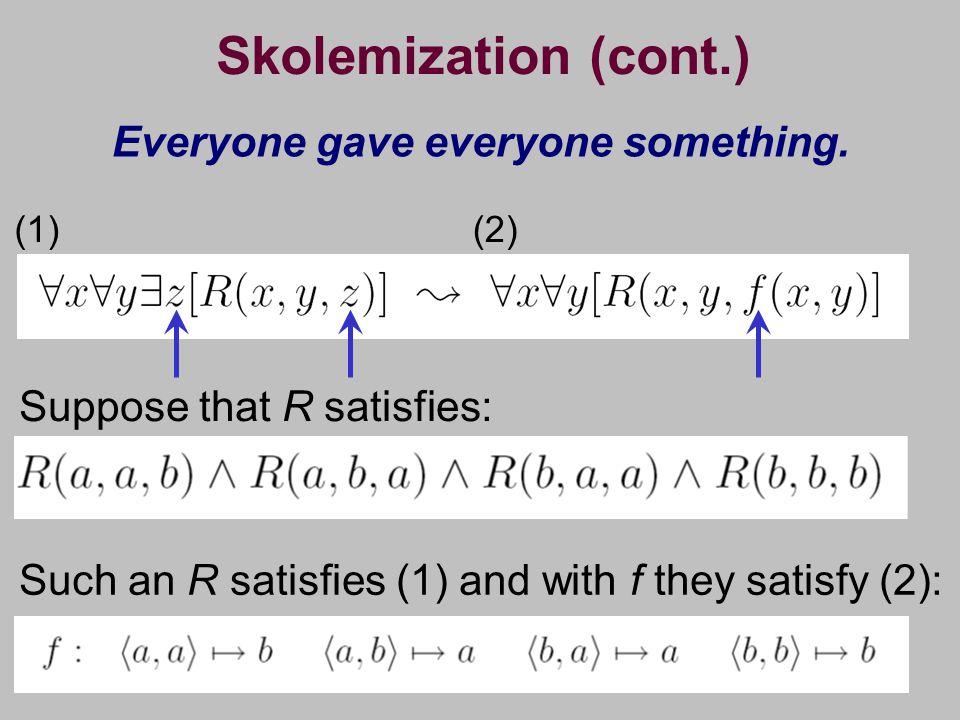 Skolemization (cont.) Everyone gave everyone something.