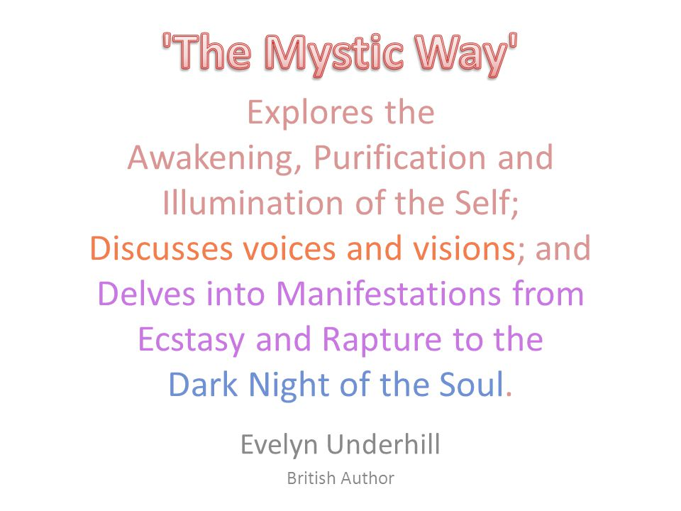 Explores the Awakening, Purification and Illumination of the Self; Discusses voices and visions; and Delves into Manifestations from Ecstasy and Rapture to the Dark Night of the Soul.