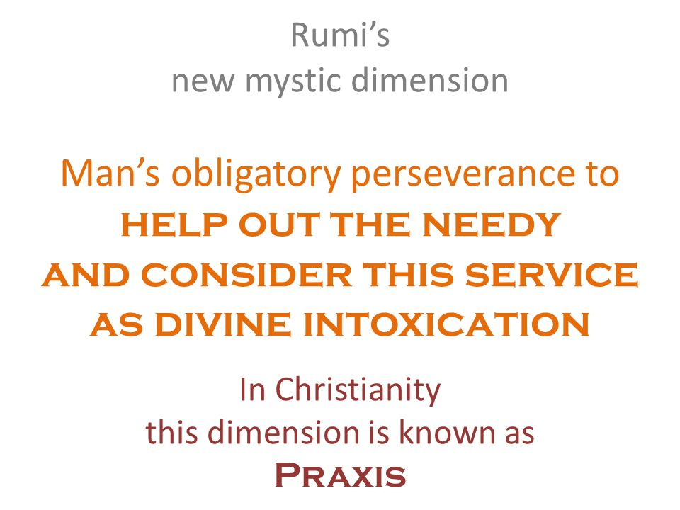 Rumis new mystic dimension Mans obligatory perseverance to help out the needy and consider this service as divine intoxication In Christianity this dimension is known as Praxis