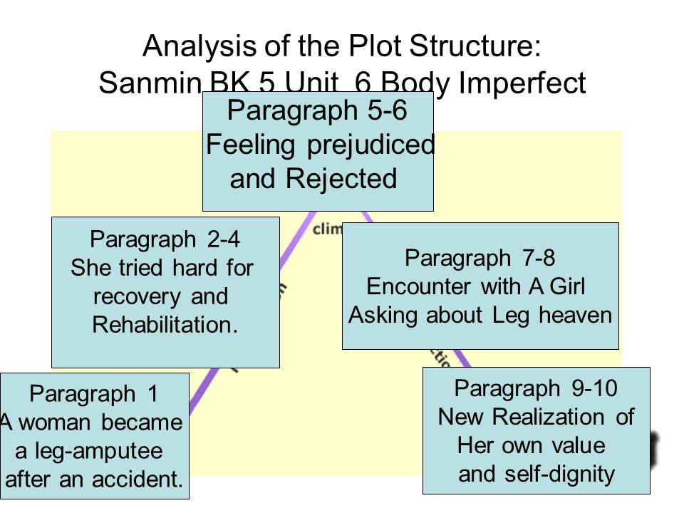 Analysis of the Plot Structure: Sanmin BK 5 Unit 6 Body Imperfect Paragraph 1 A woman became a leg-amputee after an accident. Paragraph 2-4 She tried