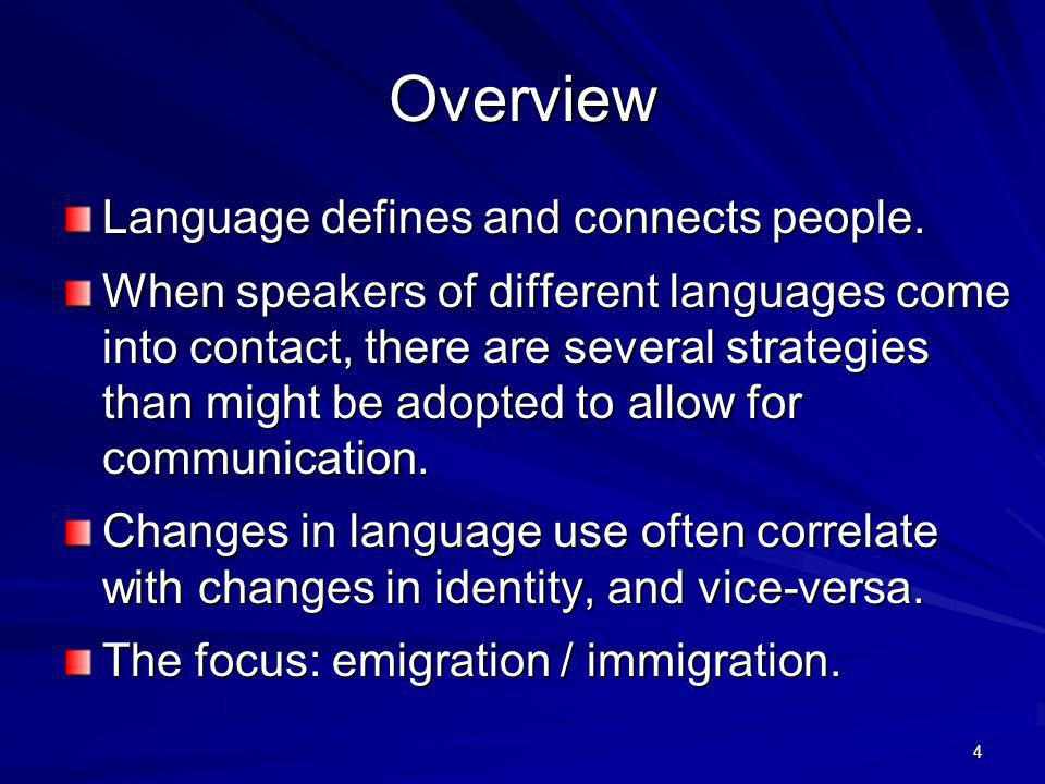 Language Defines People What makes a person… –an American.