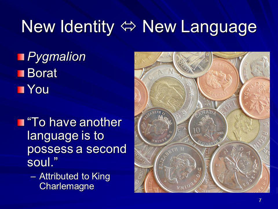 New Identity New Language PygmalionBoratYou To have another language is to possess a second soul.