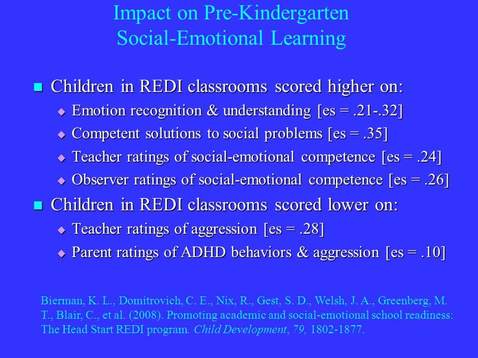 I Impact on Pre-Kindergarten Social-Emotional Learning Children in REDI classrooms scored higher on: Children in REDI classrooms scored higher on: Emotion recognition & understanding [es =.21-.32] Emotion recognition & understanding [es =.21-.32] Competent solutions to social problems [es =.35] Competent solutions to social problems [es =.35] Teacher ratings of social-emotional competence [es =.24] Teacher ratings of social-emotional competence [es =.24] Observer ratings of social-emotional competence [es =.26] Observer ratings of social-emotional competence [es =.26] Children in REDI classrooms scored lower on: Children in REDI classrooms scored lower on: Teacher ratings of aggression [es =.28] Teacher ratings of aggression [es =.28] Parent ratings of ADHD behaviors & aggression [es =.10] Parent ratings of ADHD behaviors & aggression [es =.10] Bierman, K.