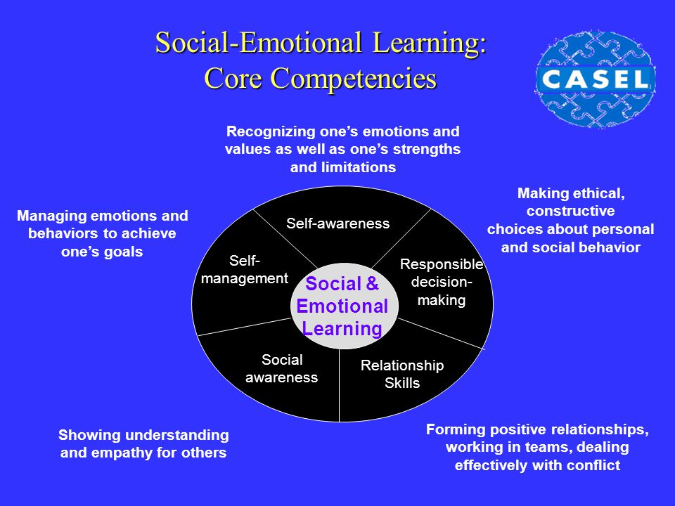 Social-Emotional Learning: Core Competencies Social & Emotional Learning Self-awareness Social awareness Relationship Skills Responsible decision- mak