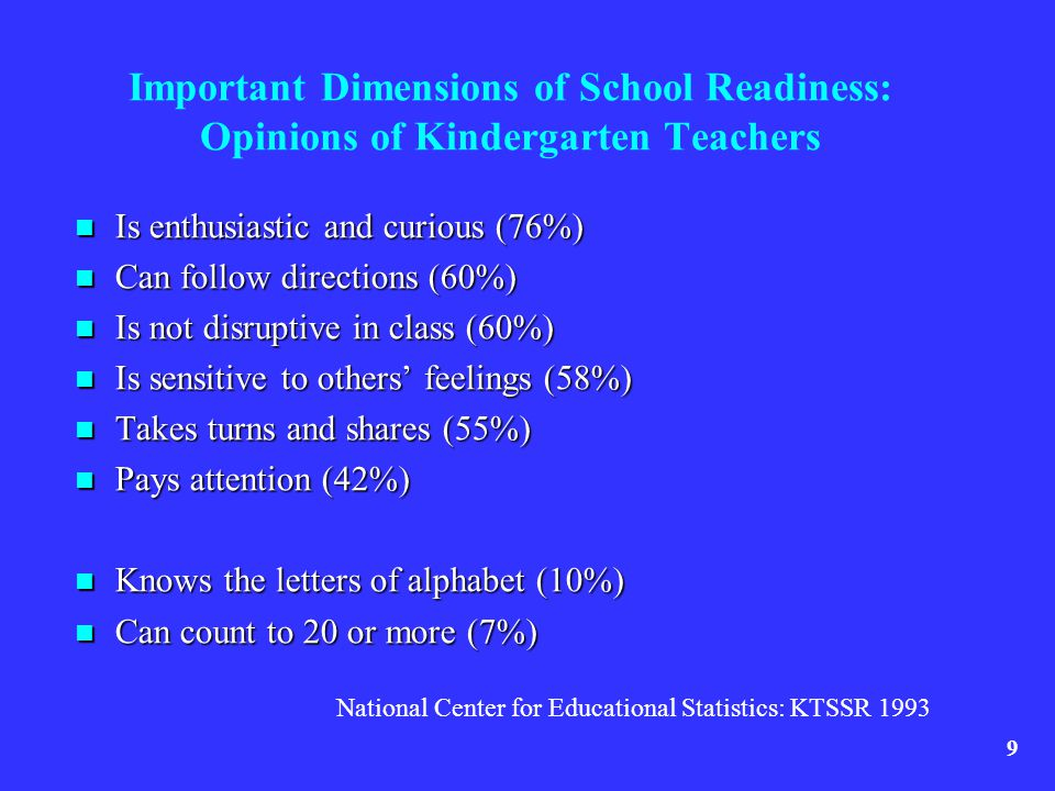 Important Dimensions of School Readiness: Opinions of Kindergarten Teachers Is enthusiastic and curious (76%) Is enthusiastic and curious (76%) Can fo