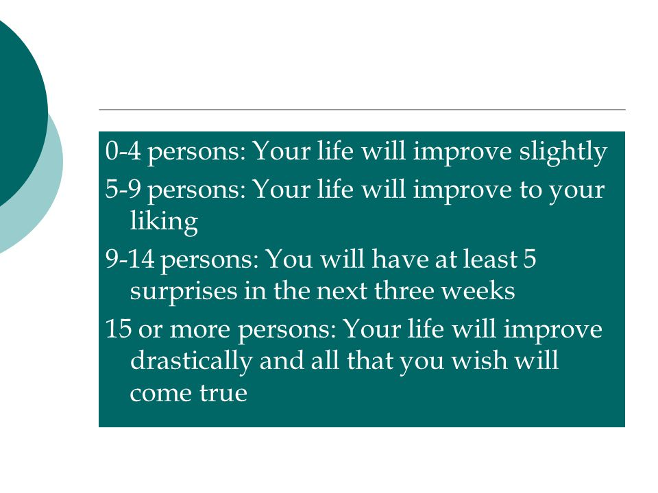0-4 persons: Your life will improve slightly 5-9 persons: Your life will improve to your liking 9-14 persons: You will have at least 5 surprises in the next three weeks 15 or more persons: Your life will improve drastically and all that you wish will come true