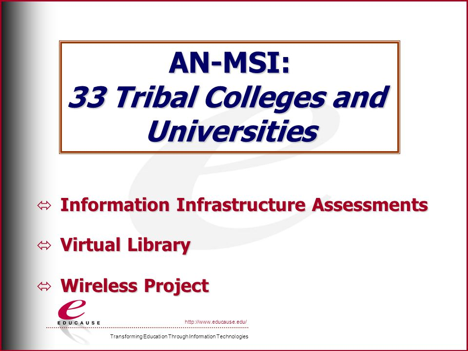 Transforming Education Through Information Technologies http://www.educause.edu/ AN-MSI: 33 Tribal Colleges and Universities Information Infrastructure Assessments Virtual Library Wireless Project