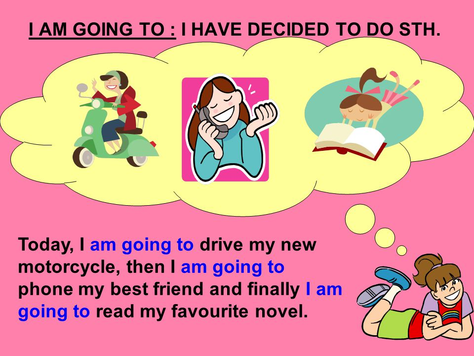 I AM GOING TO : I HAVE DECIDED TO DO STH.