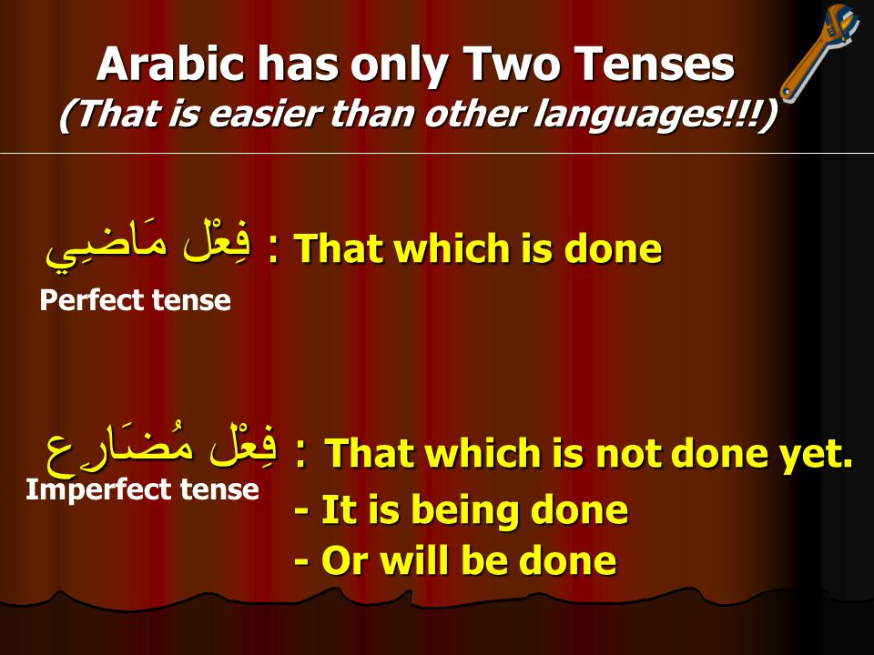 Arabic has only Two Tenses (That is easier than other languages!!!) فِعْل مَاضِي : That which is done فِعْل مُضَارِع : That which is not done yet.