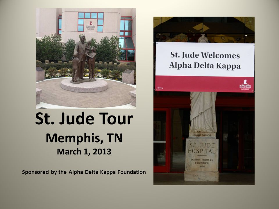 St. Jude Tour Memphis, TN March 1, 2013 Sponsored by the Alpha Delta Kappa Foundation