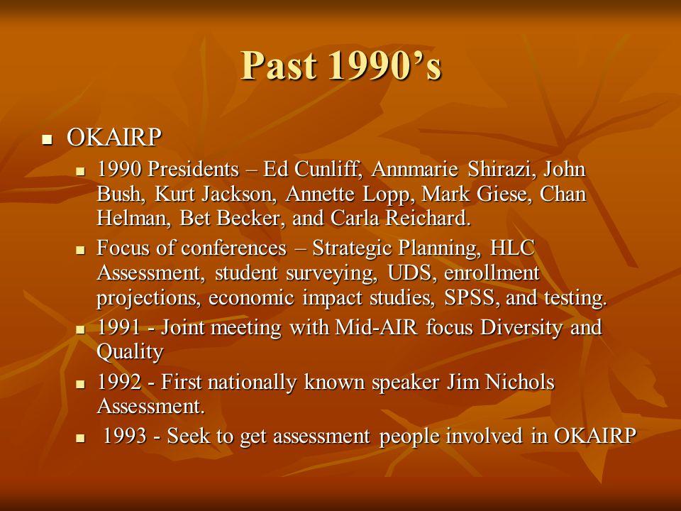 Past 1990s OKAIRP OKAIRP 1990 Presidents – Ed Cunliff, Annmarie Shirazi, John Bush, Kurt Jackson, Annette Lopp, Mark Giese, Chan Helman, Bet Becker, and Carla Reichard.
