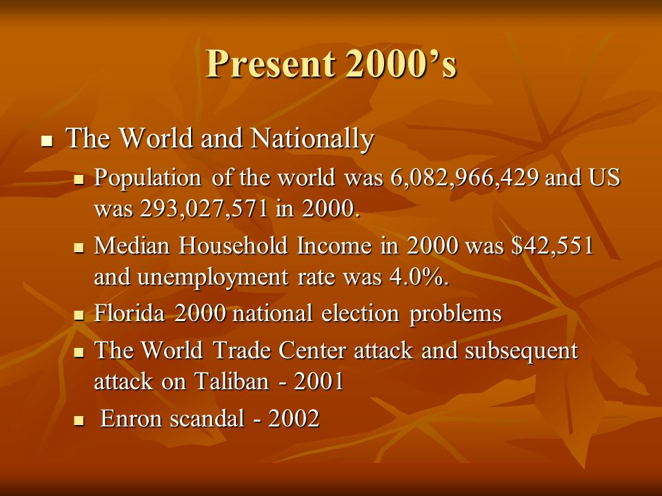 Present 2000s The World and Nationally The World and Nationally Population of the world was 6,082,966,429 and US was 293,027,571 in 2000. Population o