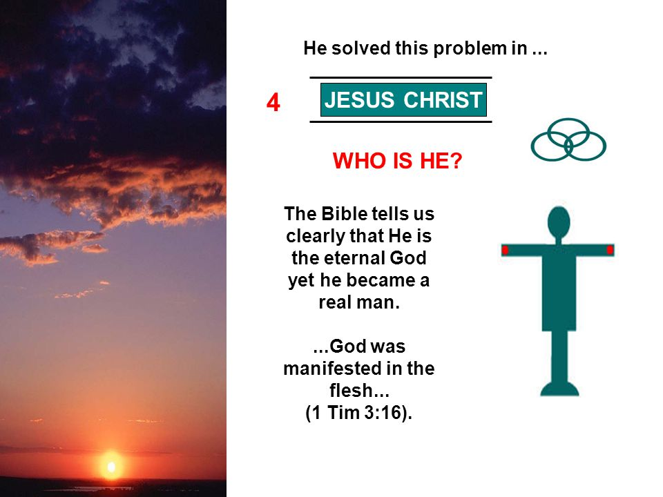 4 JESUS CHRIST WHO IS HE? The Bible tells us clearly that He is the eternal God yet he became a real man....God was manifested in the flesh... (1 Tim