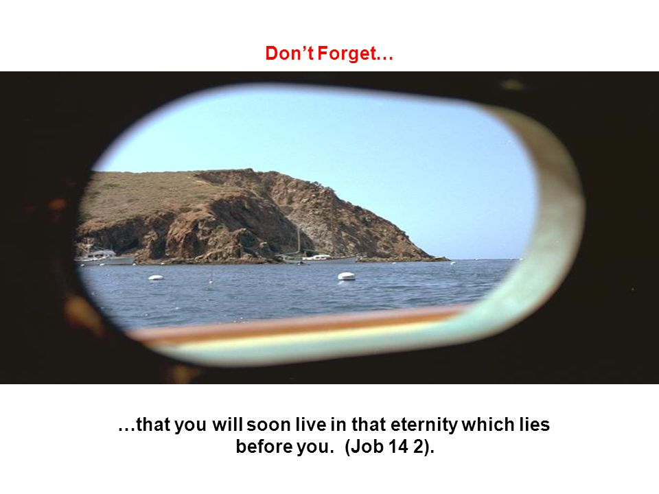 Dont Forget… …that you will soon live in that eternity which lies before you. (Job 14 2).