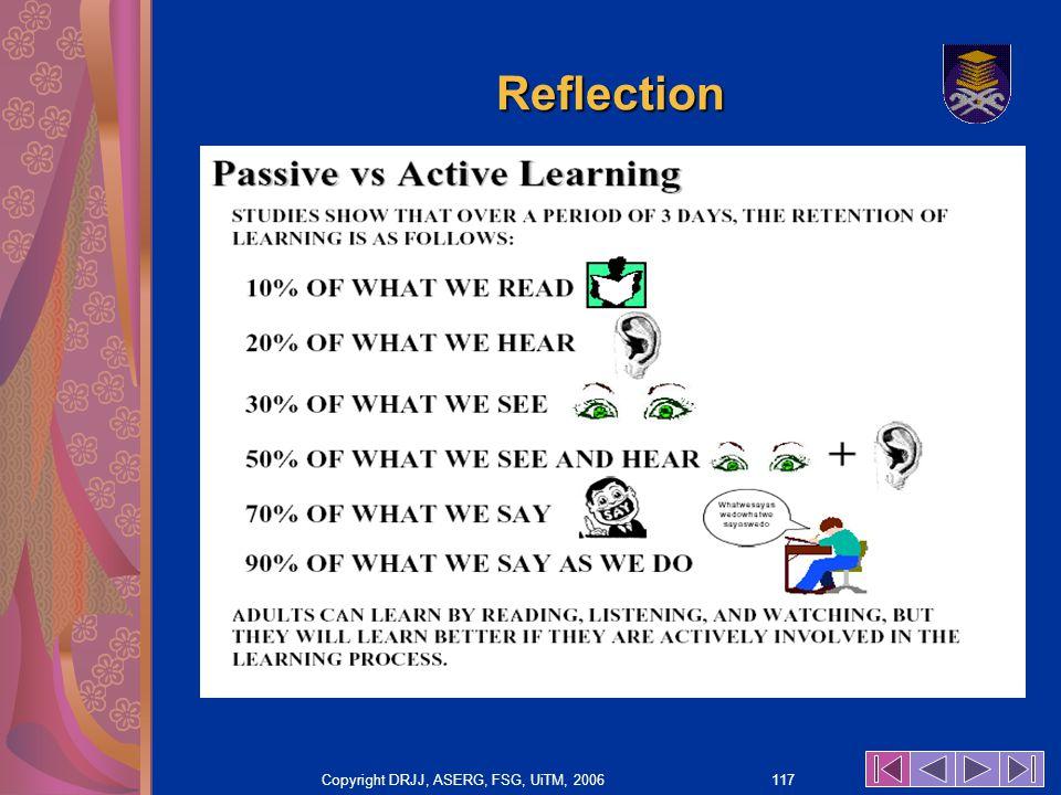 Copyright DRJJ, ASERG, FSG, UiTM, 2006 117 Reflection