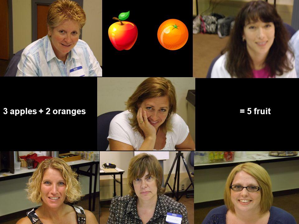 3 apples + 2 oranges= 5 fruit