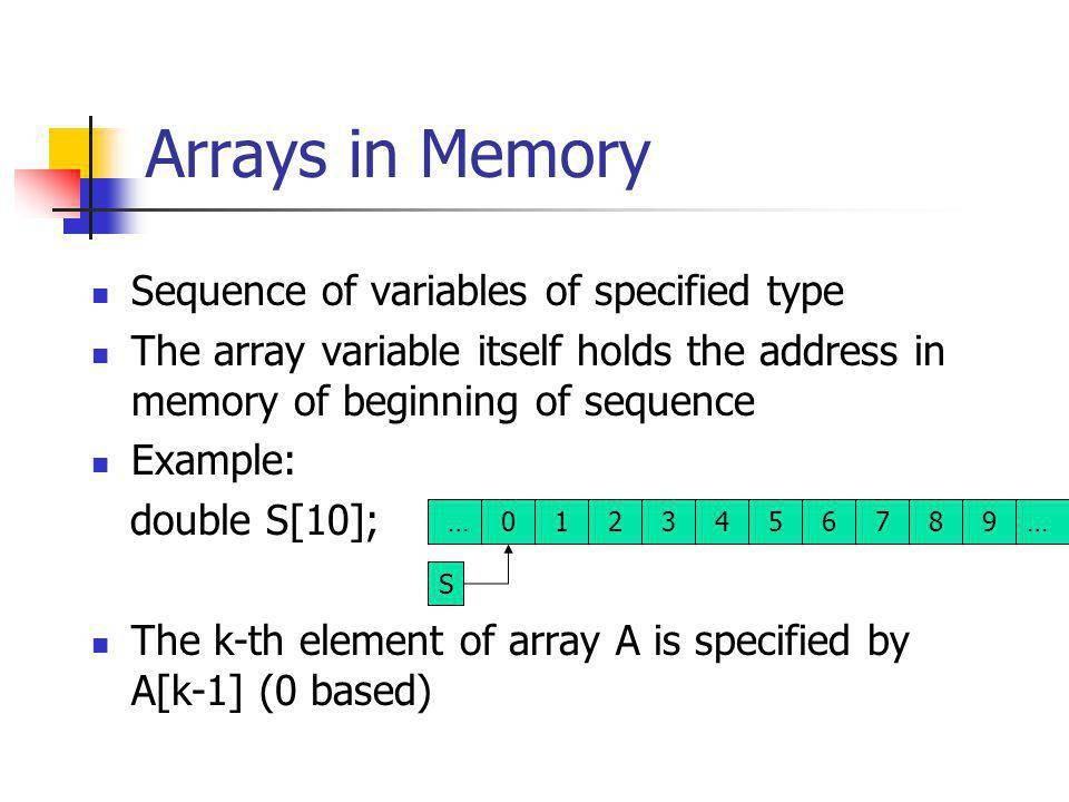 Arrays in Memory Sequence of variables of specified type The array variable itself holds the address in memory of beginning of sequence Example: double S[10]; The k-th element of array A is specified by A[k-1] (0 based) 0123456789 S ……