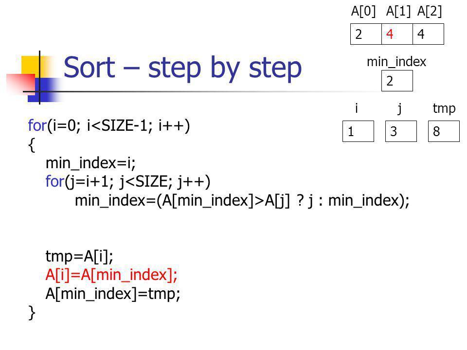 Sort – step by step for(i=0; i<SIZE-1; i++) { min_index=i; for(j=i+1; j<SIZE; j++) min_index=(A[min_index]>A[j] .