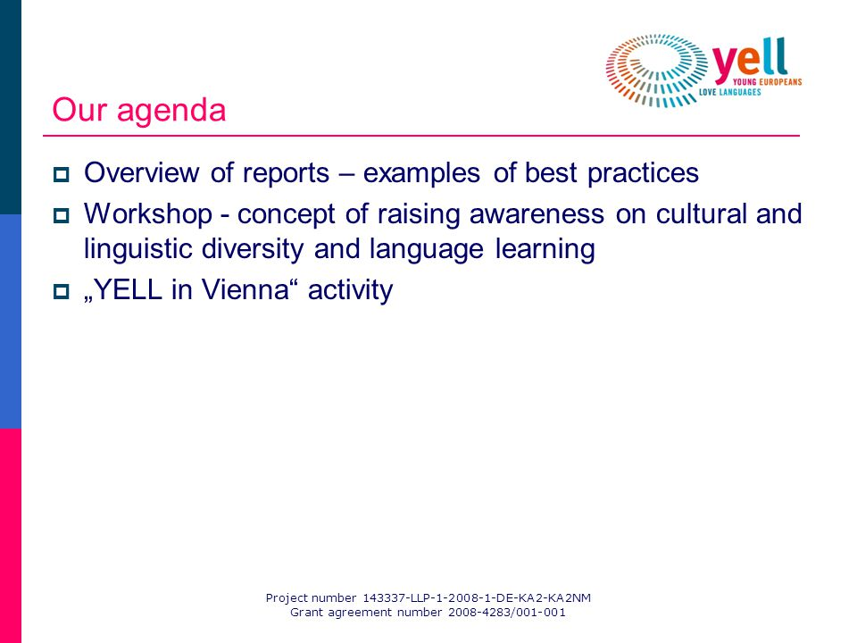 Project number 143337-LLP-1-2008-1-DE-KA2-KA2NM Grant agreement number 2008-4283/001-001 Our agenda Overview of reports – examples of best practices Workshop - concept of raising awareness on cultural and linguistic diversity and language learning YELL in Vienna activity