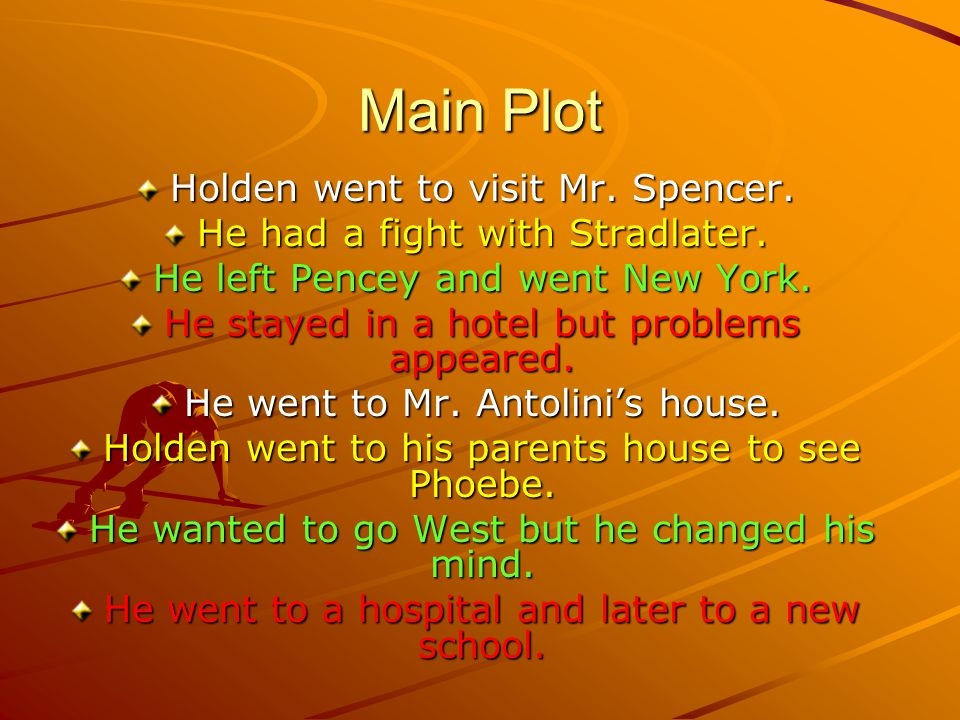 Main Plot Holden went to visit Mr. Spencer. He had a fight with Stradlater. He left Pencey and went New York. He stayed in a hotel but problems appear