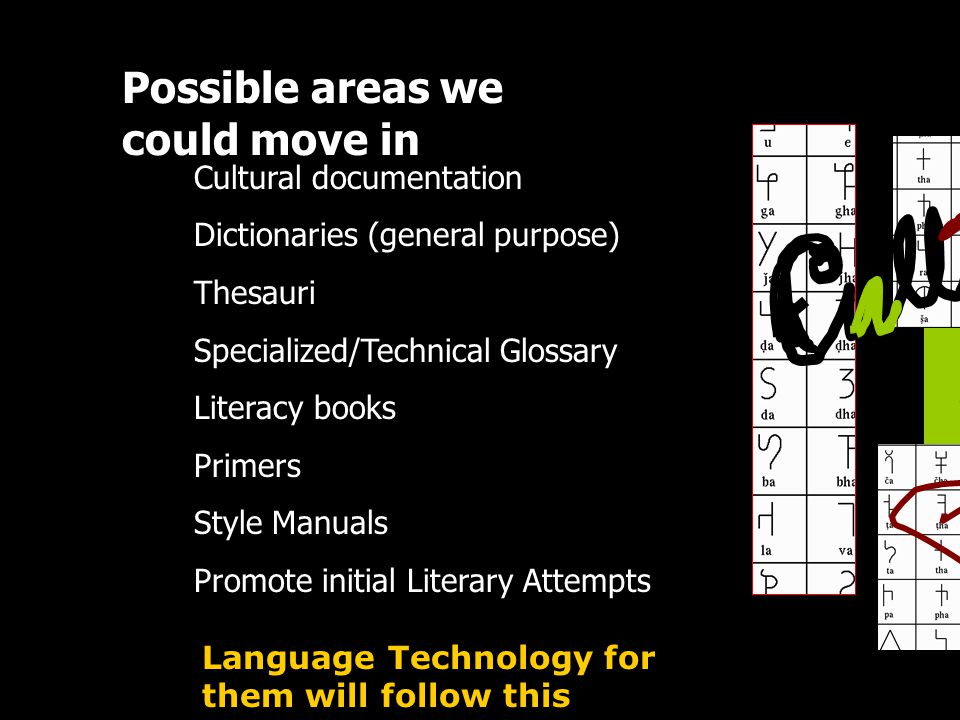 Possible areas we could move in Cultural documentation Dictionaries (general purpose) Thesauri Specialized/Technical Glossary Literacy books Primers S