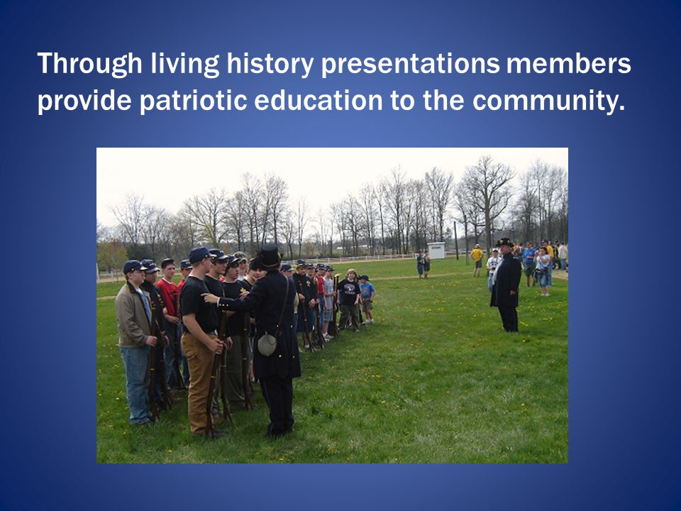 Members discuss the Civil War and related topics to various community organizations.