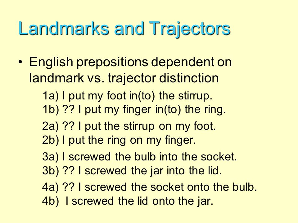 Categorization & Prototypes Implications for Conlangers –Consider whether the particular worldview or psychology of your con-culture warrants different categorization boundaries/constraints –Go beyond mere differences in common semantic areas (e.g., color categorization); consider realms such as: Verb tenses or aspects (e.g., circular time, phases) Lexical classes (e.g., gender, declensions, etc.) Syntactic relations / semantic roles / noun cases Lexico-semantic taxonomies