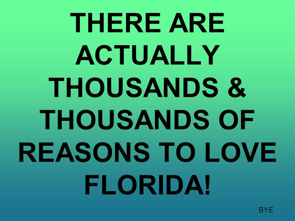 THERE ARE ACTUALLY THOUSANDS & THOUSANDS OF REASONS TO LOVE FLORIDA! BYE
