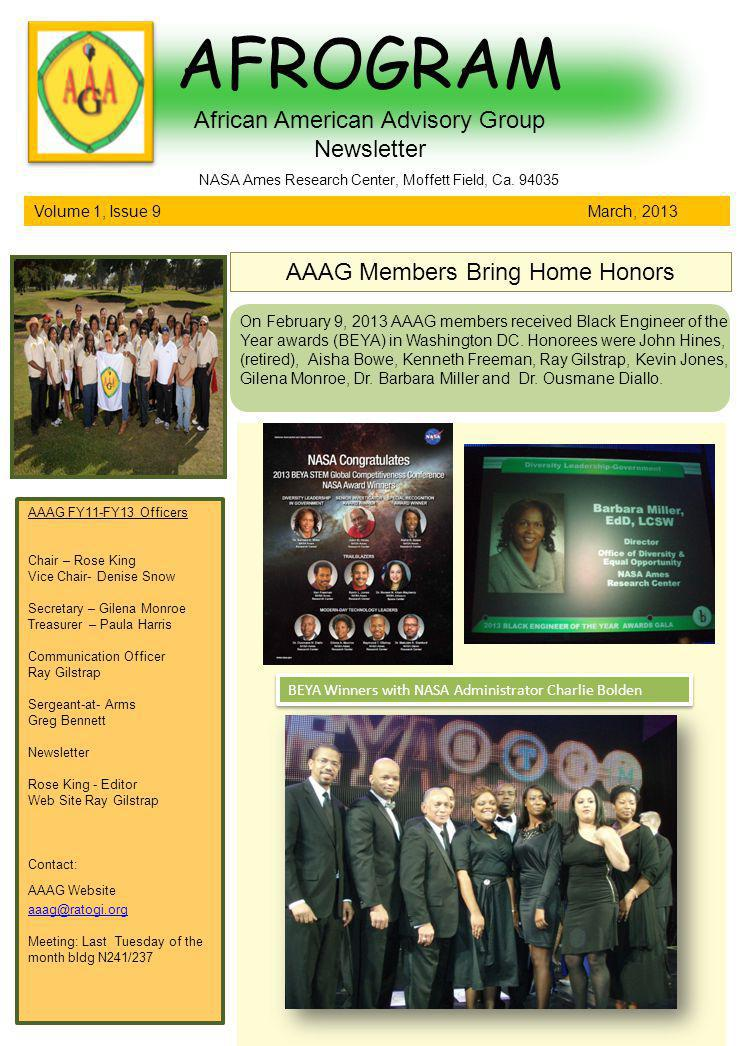 AFROGRAM African American Advisory Group Newsletter Volume 1, Issue 9 March, 2013 NASA Ames Research Center, Moffett Field, Ca.