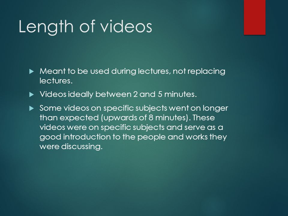 Length of videos Meant to be used during lectures, not replacing lectures.
