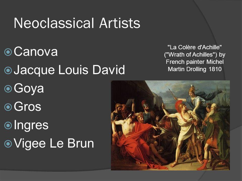 Neoclassical Artists Canova Jacque Louis David Goya Gros Ingres Vigee Le Brun