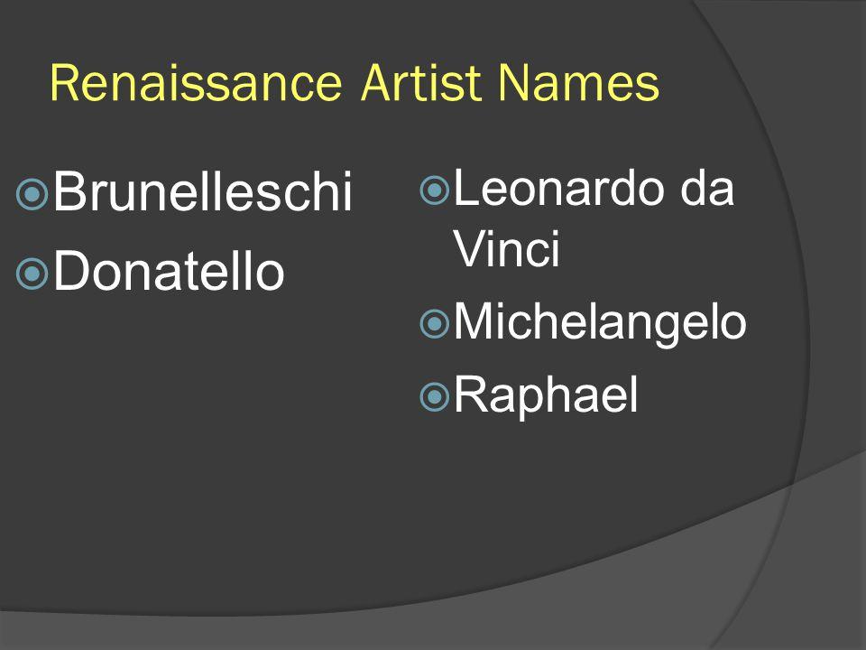 Renaissance Artist Names Brunelleschi Donatello Leonardo da Vinci Michelangelo Raphael