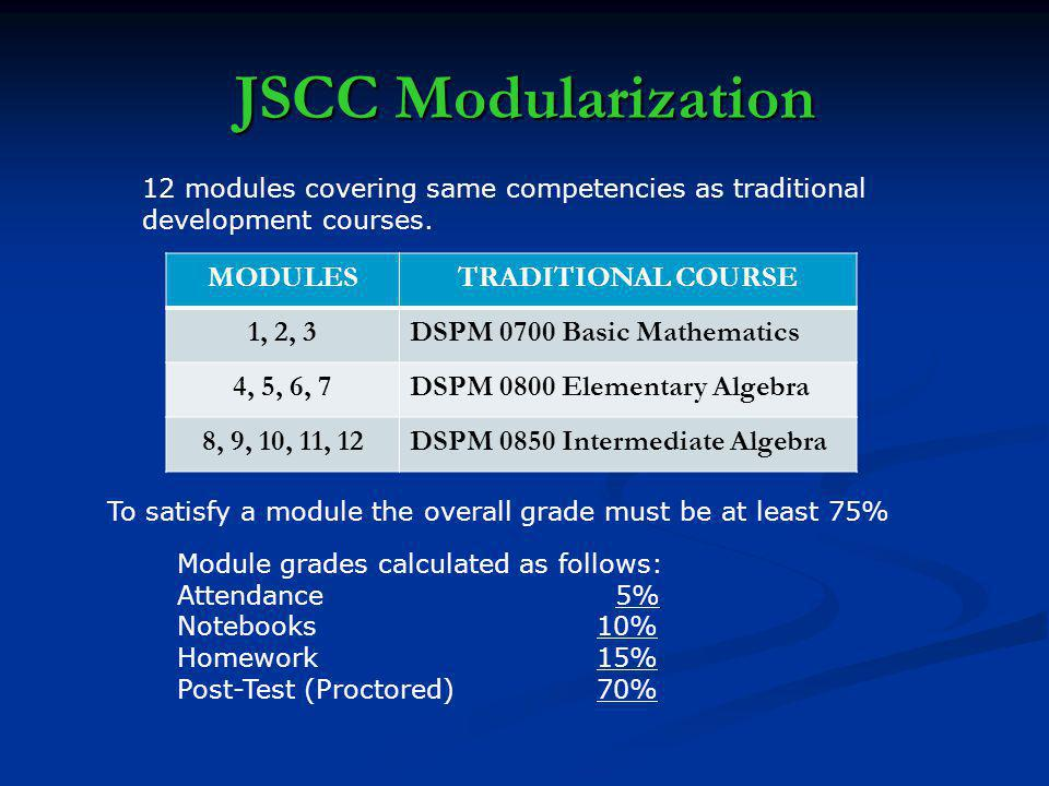 JSCC Modularization 12 modules covering same competencies as traditional development courses.