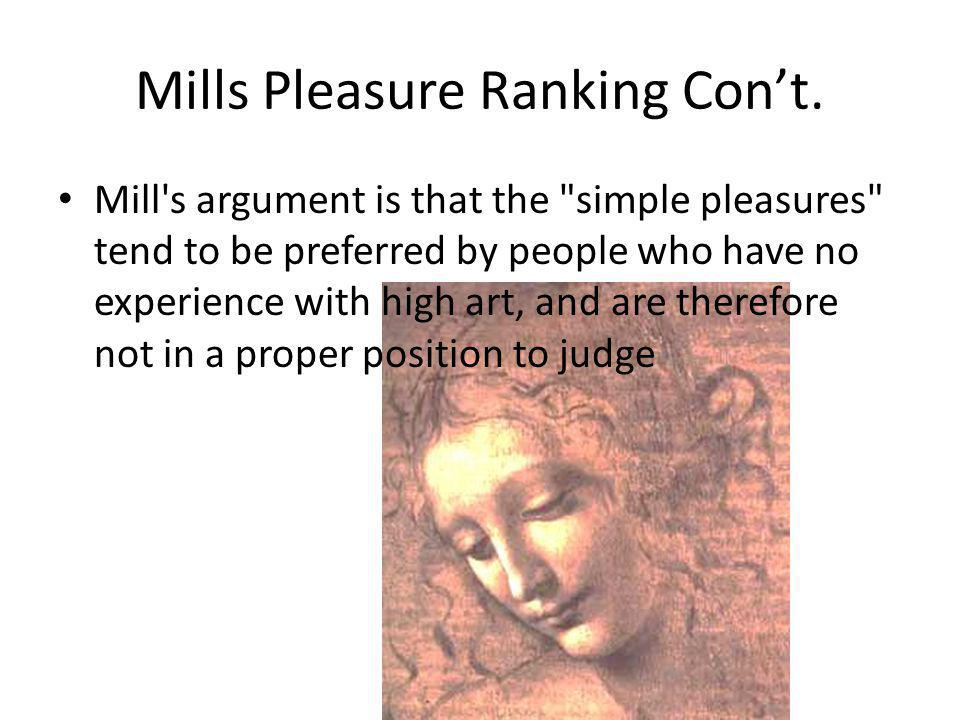 Mills Pleasure Ranking Cont.